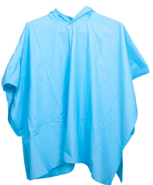 A blue child poncho